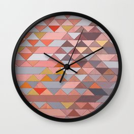 Triangle Pattern no.5 Gold, Pink and Brown Wall Clock