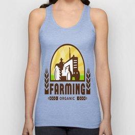 Tractor Wheat Organic Farming Crest Retro Unisex Tank Top
