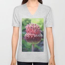 Close Up of An Ornamental Onion or Drumstick Allium Unisex V-Neck