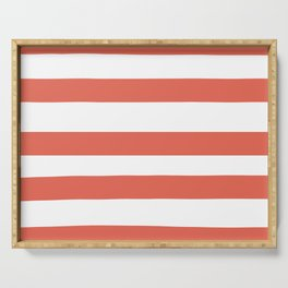 Inspired by Pantone Living Coral 16-1546 Hand Drawn Fat Horizontal Lines on White Serving Tray