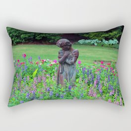 Child With Her Pet Statue Rectangular Pillow