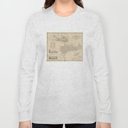 Vintage Map of Montreal (1859) Long Sleeve T-shirt