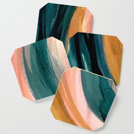 Breathe: a vibrant bold abstract piece in greens, ochre, and pink Coaster