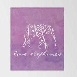 Elephant Love Purple Throw Blanket
