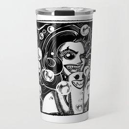 Sharkmaid Wink (line only, transparent, 3700x5100) Travel Mug