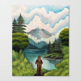 """Mystic Mountain, Kashyyyk"" (Bob Ross-style StarWars painting) Canvas Print"