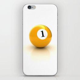 yellow pool billiard ball number 1 one iPhone Skin