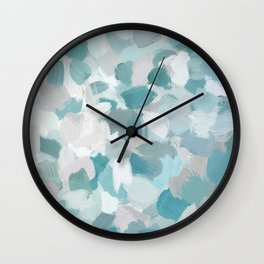 Mint Seafoam Green Turquoise Blue Sea Beach Glass Coastal Abstract Nature Ocean Painting Art Print Wall Decor  Wall Clock