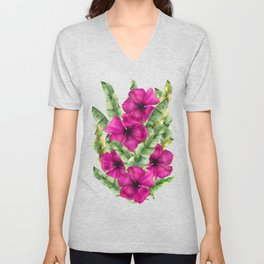 green banana palm leaves and pink flowers Unisex V-Neck