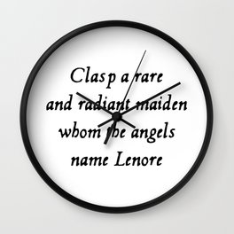 Poe The Raven Lenore Quote Gothic Wall Clock