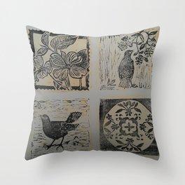 Floral Bird patchwork print Black & Gold Throw Pillow
