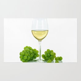 white wine and grapes Rug