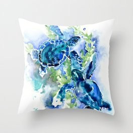 Sea Turtle Turquoise Blue Beach Underwater Scene Green Blue design Throw Pillow