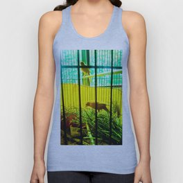 Two birds in cages. Unisex Tank Top