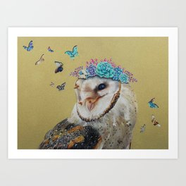 The Butterfly Effect Barn Owl Art Print