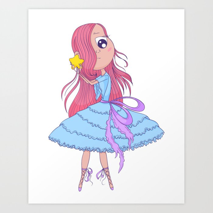 Cute Anime Ballerina With Pink Hair In Tutu Holding In Her Hands Star Cartoon Character Art Print By Kateja2 Society6