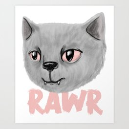 Claws & Fangs - Cute Vampire Gray Fluffy Cat Illustration Art Print