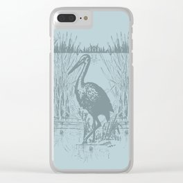 Oriental Exotic Heron & Birds on a Lake Print Clear iPhone Case