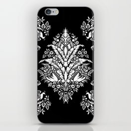 Victorian black and white floral iPhone Skin