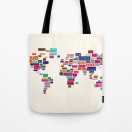 All We Need Is Love World Map Art Tote Bag