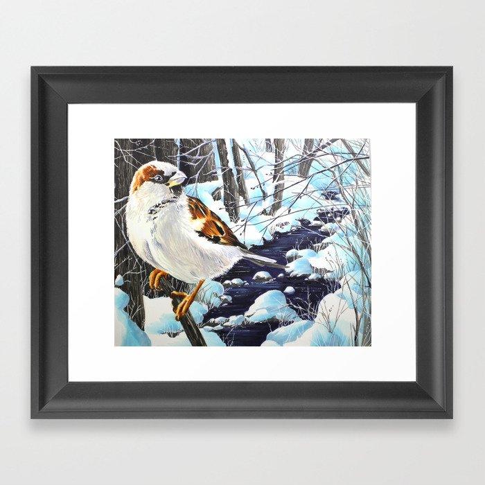 Winter Sparrow Framed Art Print