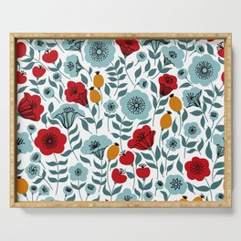 Red & Light Blue Flowers Serving Tray