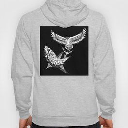 The shark and the eagle back in black Hoody