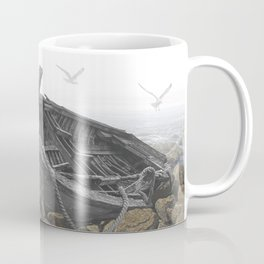 Boat Beached on a Rocky Shore in the Mist Coffee Mug