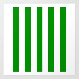Islamic green - solid color - white vertical lines pattern Art Print