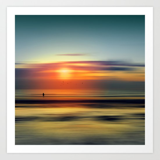 Bright Red - seascape sunset abstract Art Print