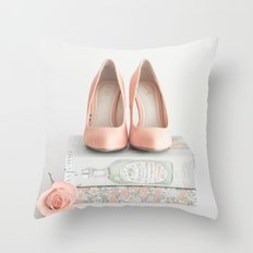 Blush coral heels and french books Throw Pillow