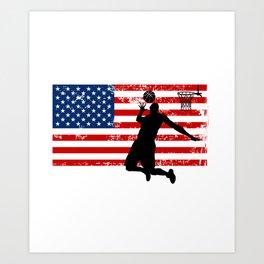 USA American Flag Basketball Basketball Player Gift Art Print