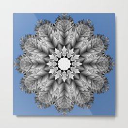 Abstract icy winter flower mandala Metal Print