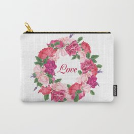 Floral wreath with rose and leaves Carry-All Pouch
