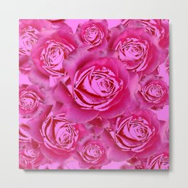 Pink Roses on Pink Roses Purple Fuchsia Flowers Art Design Metal Print