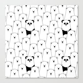 Polar bear and panda cartoon Canvas Print