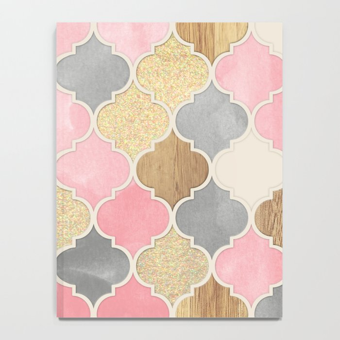 Silver Grey, Soft Pink, Wood & Gold Moroccan Pattern Notebook