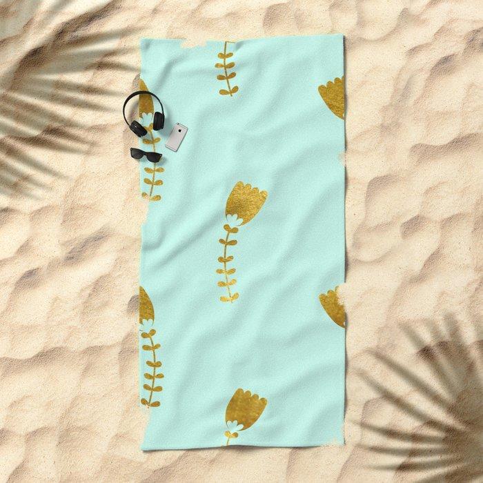 Mint Gold Foil 03 Beach Towel