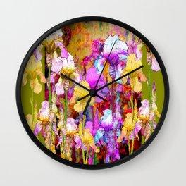 MIXED IRIS FLORAL AVOCADO ART DESIGN Wall Clock