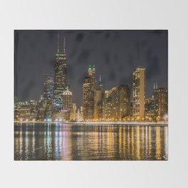 Chicago North Shore Skyline Night Throw Blanket