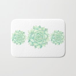 Watercolour succulent Bath Mat