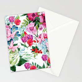 Floral Roses Tulips and Butterflies Stationery Cards