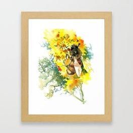 Honey Bee and FLower Framed Art Print