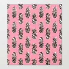 Pink Coral Rose Gold Pineapples Canvas Print