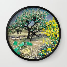 Olive Tree & Gorse Bush Wall Clock