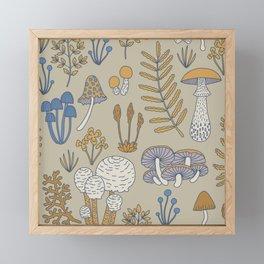 Wild Mushrooms in Blue Framed Mini Art Print