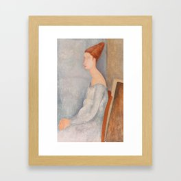 Portrait of Jeanne Hebuterne by Amedeo Modigliani, 1918 Framed Art Print