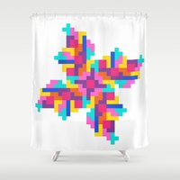 tetris Shower Curtains featuring Tetris Pinwheel by Jessie Prints Stuff