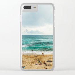 People Having Fun On Beach, Algarve Lagos Portugal, Tourists In Summer Vacation, Wall Art Poster Clear iPhone Case