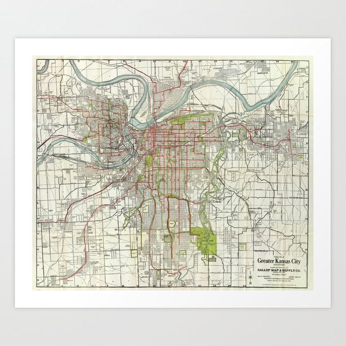 Vintage Map of Kansas City Missouri (1920) Art Print by bravuramedia